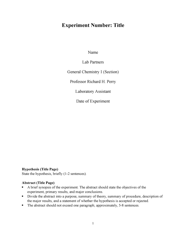 Full Lab Report Template - General Low Level Chemistry Experiment