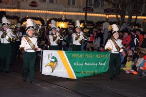"Aileen Jong and Katie Klonder lead the Fremd Viking Marching Band in the Disney World ""Electric Light Parade"" on December 27th."