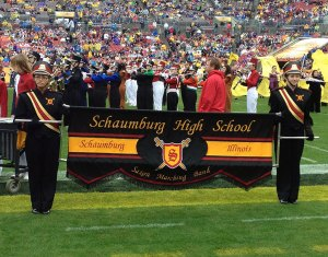 The SHS marching band performs during halftime at the Outback Bowl in Florida.