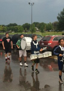 Senior students march in to Palatine High School on the first day of school.