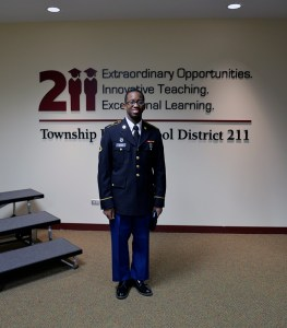 Schaumburg High Schooll Alumnus and Private First Class Leon Dixon at the Board of Education meeting on Jan. 15, 2015.