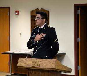 Vazquez is the fourth alumnus to be recognized for his service and started the meeting by leading the Pledge of Allegiance.