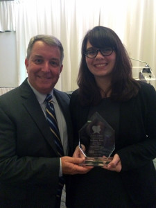 NBC Correspondent Kerry Sanders and Susan pose with her award. Photo Courtesy Susan Szuch