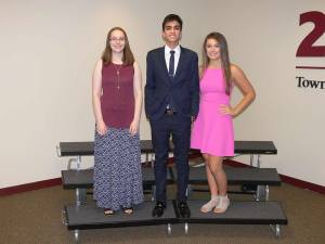 (from left) Joanna Kus, Shahir Taj and Angela Peterson all earned perfect scores on the ACT exam.