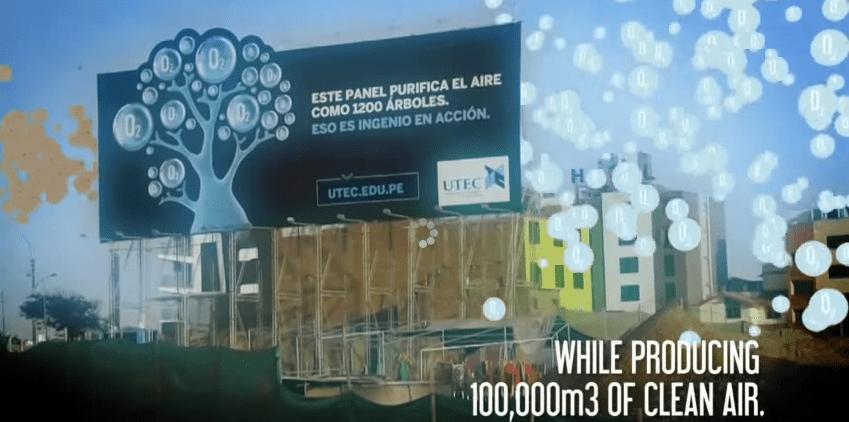 PERU: CARTEL PUBLICITARIO QUE DESCONTAMINA EL AIRE