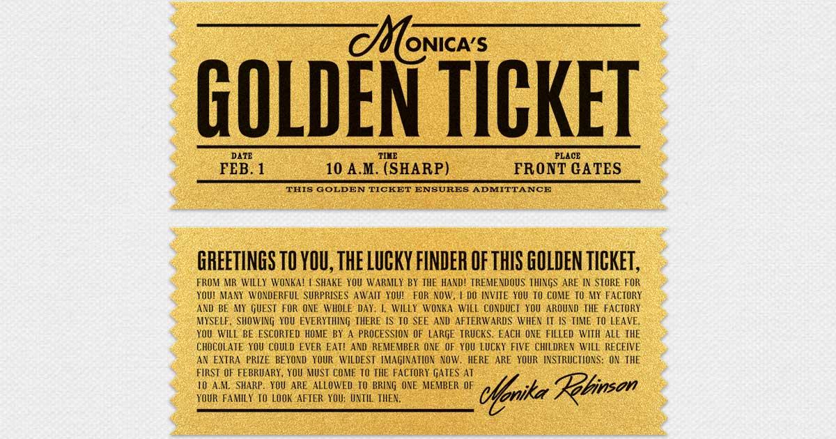 Willy Wonka Golden Ticket Kids Birthday Personalized