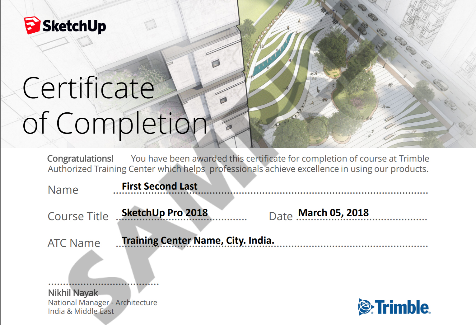 Authorised SketchUp Course Completion Certificate Sample
