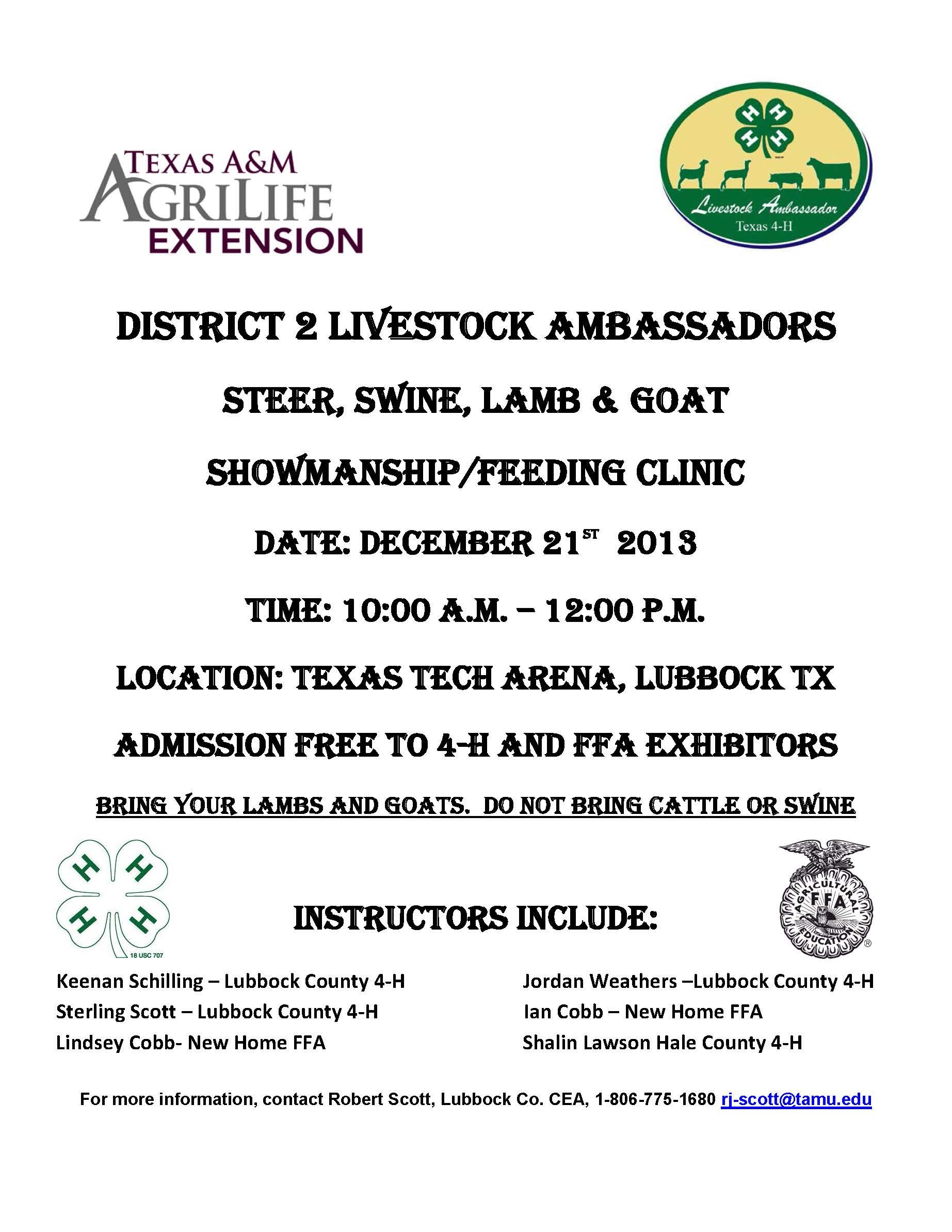 D 2 Livestock Ambassadors Showmanship Feeding Clinic Dec 21