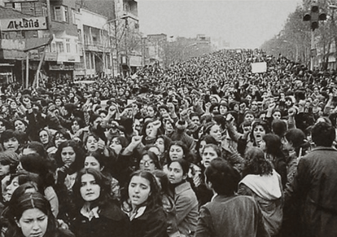 Iranian women protesting the forced wearing of the hijab, 1979
