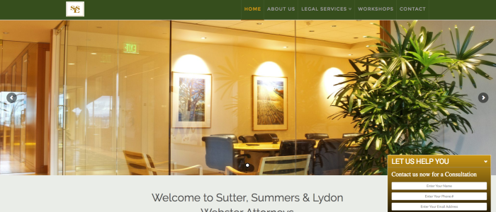 Website design for Sutter, Summ & Lydon