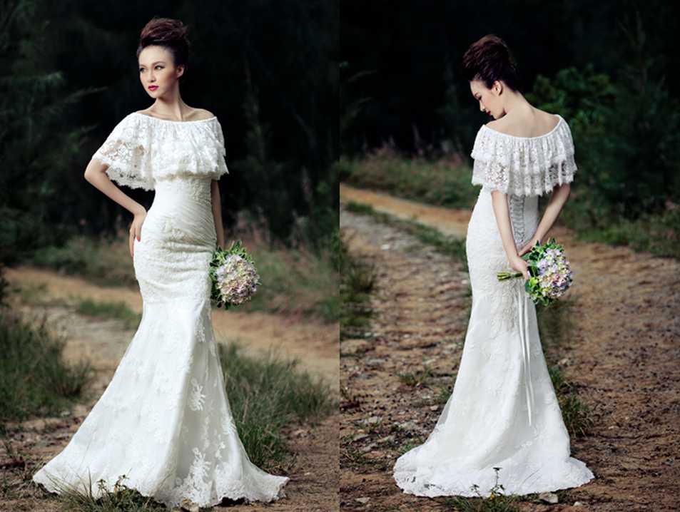 LACE FLOUNCE OFF SHOULDER TRUMPET / MERMAID WEDDING DRESS
