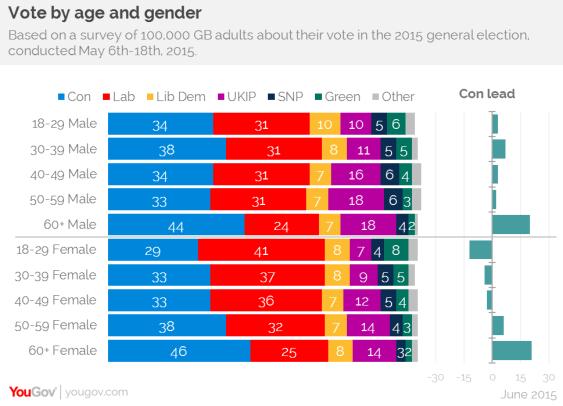 Image result for uk age breakdown general election