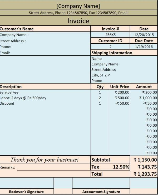 Download Invoice / Bill Excel Template - ExcelDataPro
