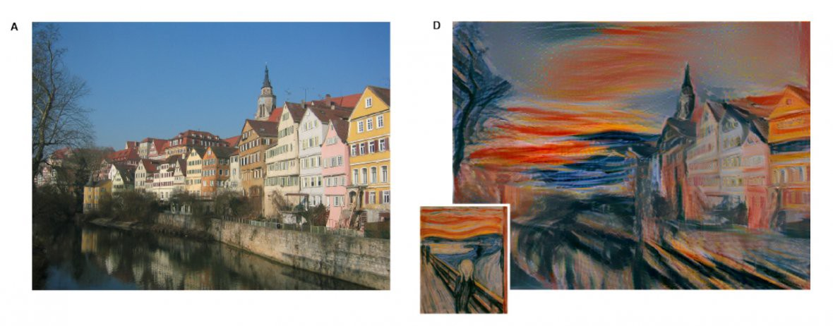 A photo of a street, and the same image rendered in the style of Munch
