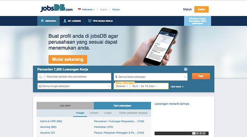 Halaman muka JobsDB   Screenshot