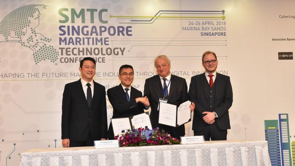 Penandatanganan MOU pengembangan digitalisasi dan otomasi maritim antara Maritime and Port Authority (MPA) Singapura dengan Research Council of Norway.