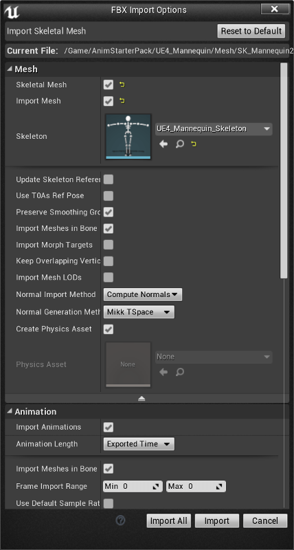 FBX Import Options 1