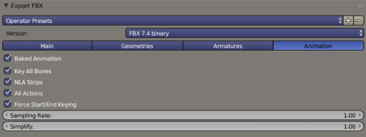 Blender FBX Export Animations Options