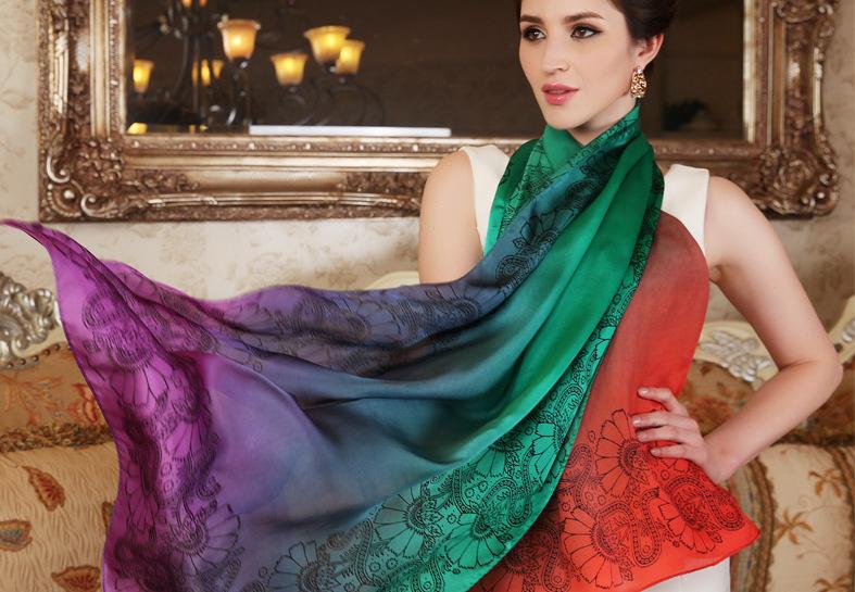 lenço de seda natural pura cores frias inverno outono azul verde