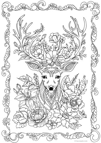 Fantasy Deer Printable Adult Coloring Pages From Favoreads