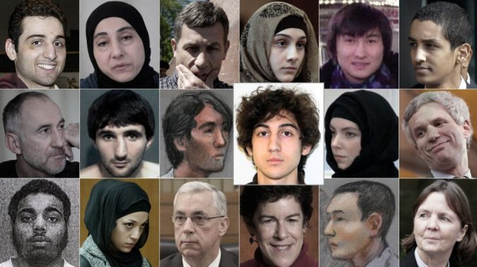 Who's Who in the Dzhokhar Tsarnaev trial. (Photo composite Zeninjor Enwemeka/WBUR)