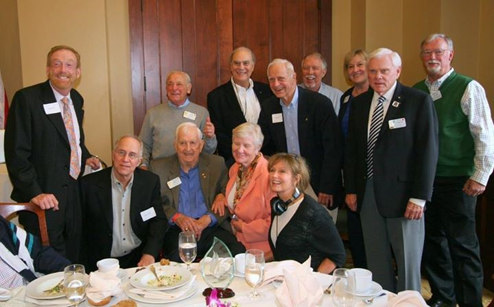 Robin Young (wearing headphones) poses for a picture with Los Altos Rotary Club members at the 25th anniversary celebration of the Los Altos Rotary AIDS Project. (Courtesy)