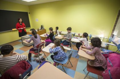 Students prepare to take the Math Kangaroo test at the Russian School of Mathematics in Newton. (Jesse Costa/WBUR)