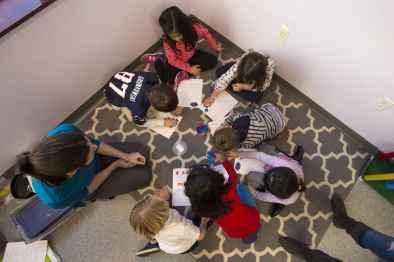 Studio of Engaging Math teacher Elina Starobinets with kindergarteners. (Jesse Costa/WBUR)