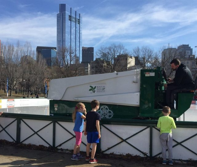 A Zamboni Makes The Rounds In Frog Pond Wednesday A Record Warm Day In Boston