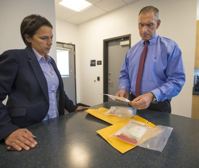Arlington Police Chief Fred Ryan Right And Inspector Gina Bassett Review Toxicology Reports On