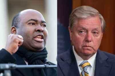 Democrat Jaime Harrison is vying for Lindsey Graham's South Carolina Senate seat. (Sean Rayford/Getty Images; Tasos Katopodis/Getty Images)