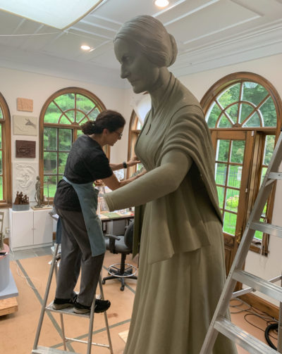 Sculptor Meredith Bergmann works on the first monument to honor women in Central Park. (Michael Bergmann)
