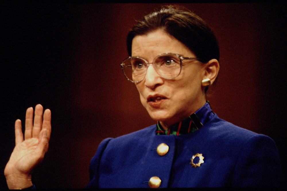 Supreme Court nominee Ruth Bader Ginsburg before the Senate Judiciary Committee on Tuesday, July 20, 1993 on Capitol Hill in Washington. (Photo by Jeffrey Markowitz/Sygma via Getty Images)