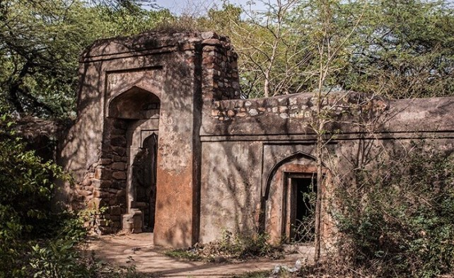 A view of the entrance to the haunted Malcha Mahal in Delhi