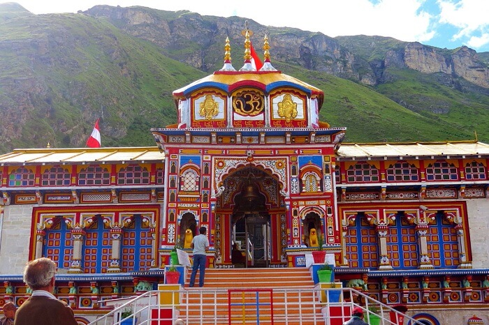 A view of the Badrinath Temple of the Char Dham Yatra
