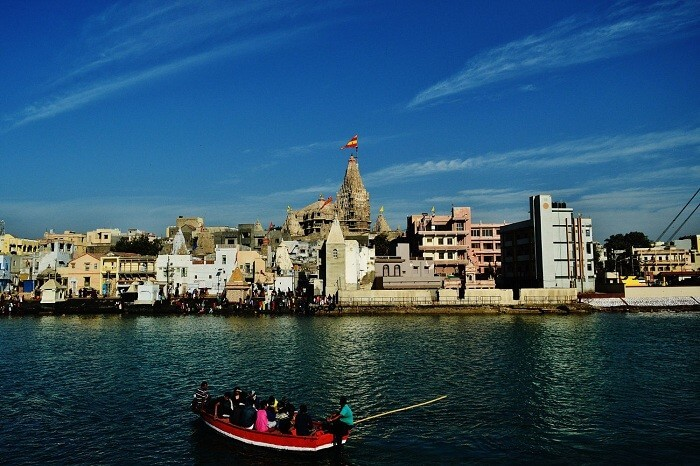A boat carrying pilgrims to the Dwarkadheesh Temple