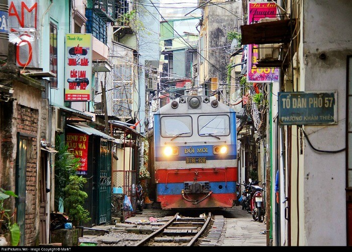 Interesting track of a railway in Vietnam