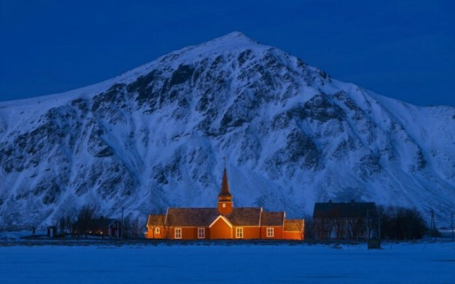 A house lit up in Northern Norway during polar night
