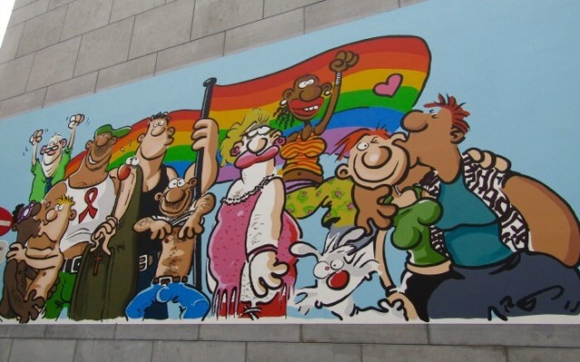 One of the comic strip walls in Brussels