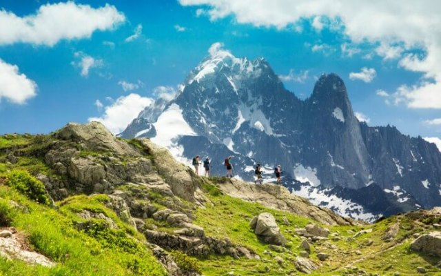 People hiking the Tour Du Mont Blanc in France