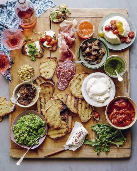 Cheese Platter Ideas Bamboo Board Cutting Board Sauces Dips Crostini Bruschetta Bar Salami Prosciutto Wine Vino