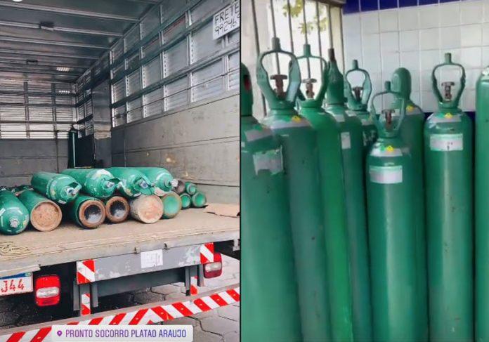 Cilindros de oxigênio recarregados pela ONG e levados a hospitais de Manaus - Fotos: Instagram