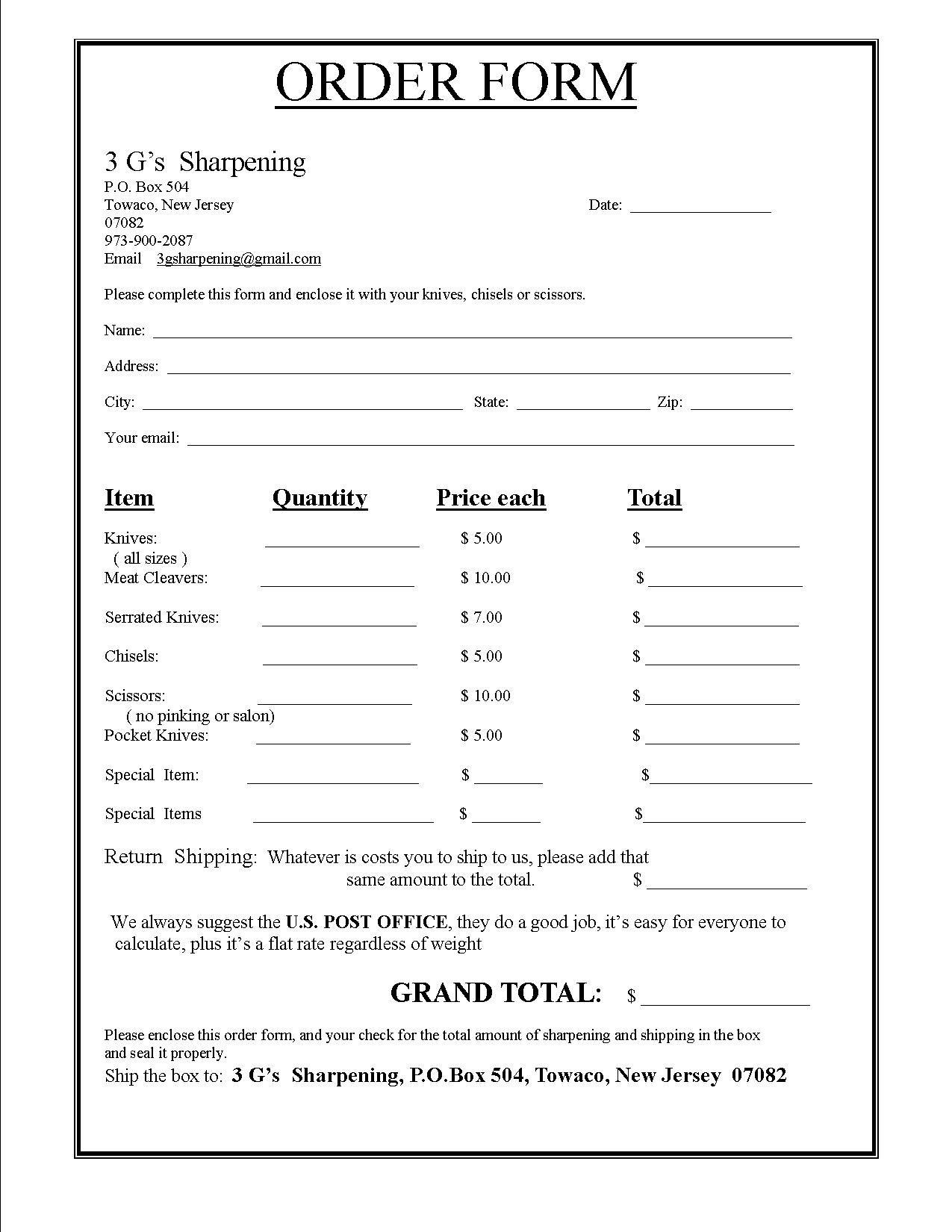 Order Form Gallery