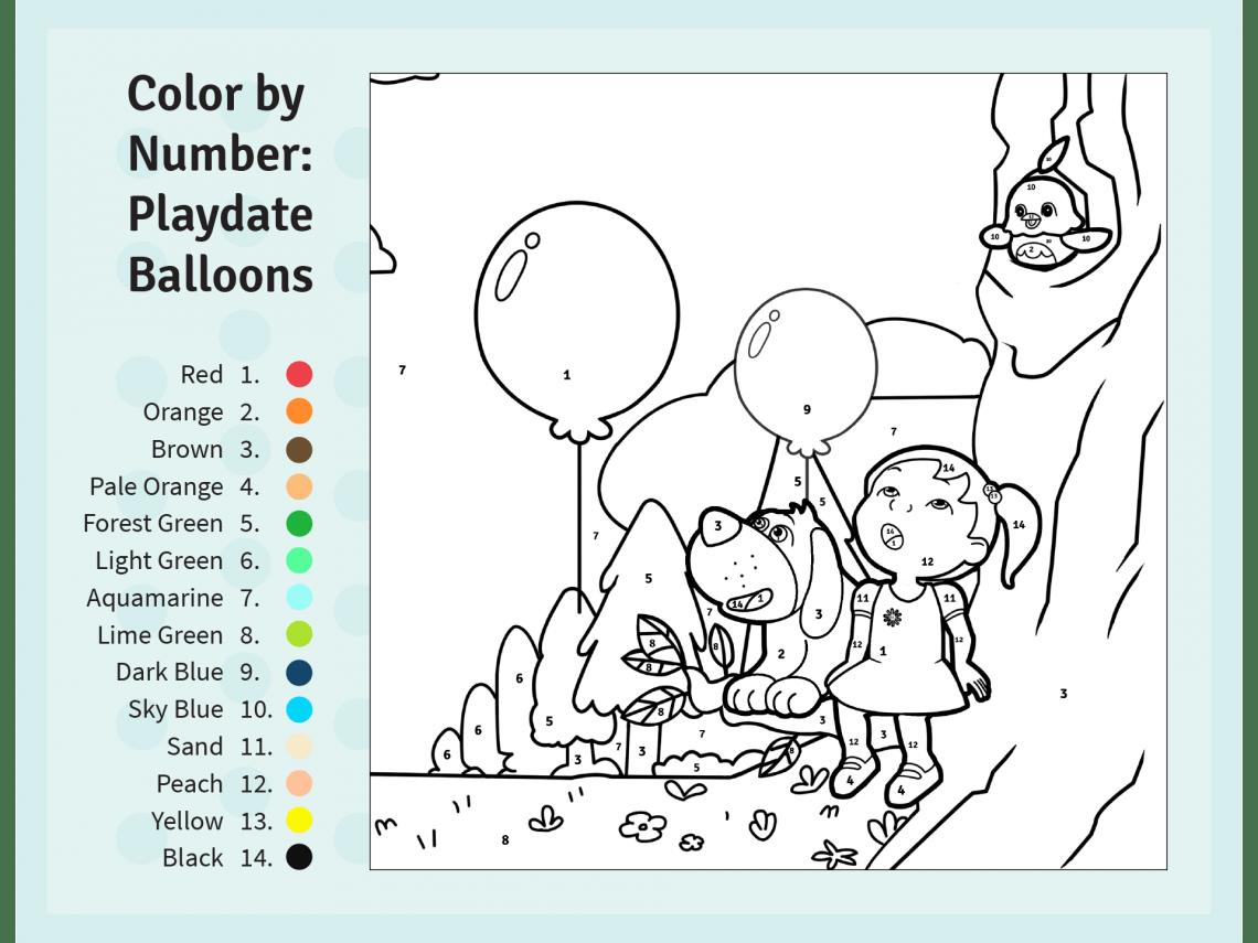 Color By Number Preschool Worksheet Color Best Free