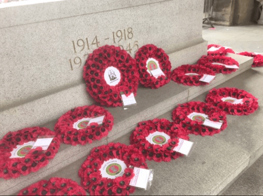 Wreaths at the War Memorial