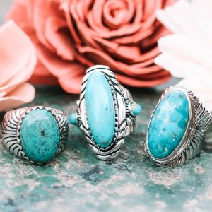 Artisan Collection  Artisan Jewelry and More   JTV com  jtv s image of Blue Turquoise Silver Feather Ring