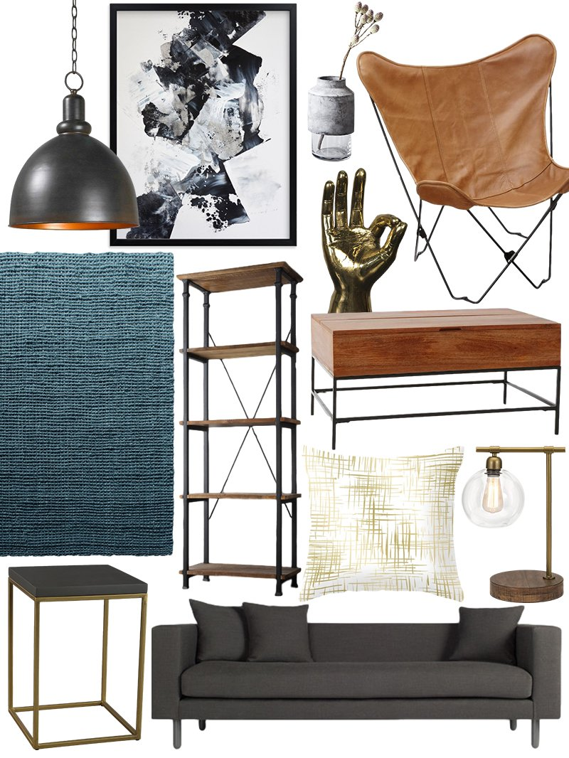 There are many ways to decorate. Create the Look: Warm Industrial Living Room Shopping