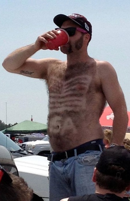 Patriotic Chest Hair Lets Hear It For Red White And