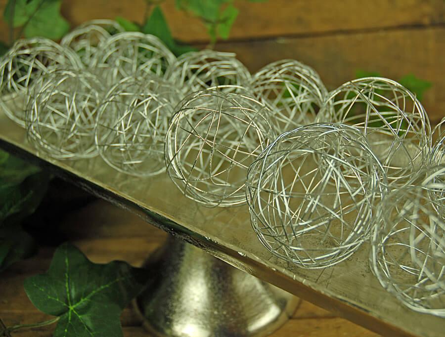 12 Silver Wire Decorative Balls 25in Set Of 12