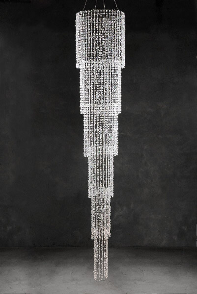 Grand Cascade Iridescent Crystal Chandelier 9 Ft With Lighting Kit Six Tiers